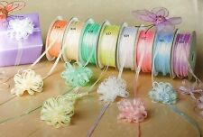"1/8"" Organza PULL STRING Bow Ribbon 50 yards  CHOOSE COLOR"