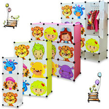 NEW Childrens Wardrobe Kids Storage Box Character Design Cubes Green Pink Shoes
