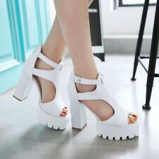 New Hot Womens Block Chunky Heels Hollow Out Open Toe Platform Sandals Shoes A08