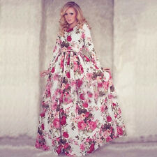 Boho Women's Floral Printed Long Sleeve Long Maxi Party Cocktail Evening Dress F