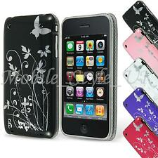 Ultra Thin Butterfly Design Case and Screen protector for iPhone 3GS Cover Hard