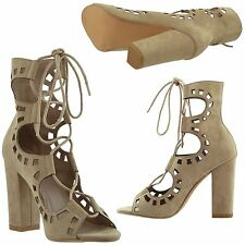 Womens Ghillie Lace Up Block Heel Cutout Ankle Booties Taupe