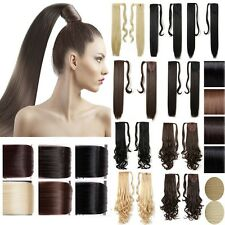 Long Wavy Straight Clip in Ponytail Hair Extensions real as human hairpiece L7a