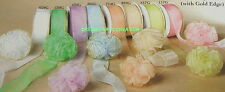 "1.5"" Organza RUFFLED Bow with GOLD Trim 25 Yards  CHOOSE From 8 PASTEL COLORS"