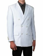 Men Double Breasted White Suit Jacket Blazer 56R 56 R New