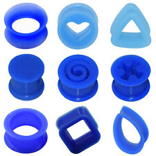 2Piece Blue Silicone Ear Gauge Plug-Flesh Tunnel Double Flared Square Swirl Hot