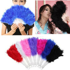Soft Fluffy Lady Burlesque Wedding Hand Fancy Dress Costume Dance Feather Fan