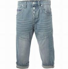 Gio Goi Men's Twisted Carrot Hip Denim Shorts Light Stonewash