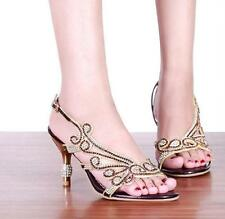 New womens open toe rhinestones low heel sandals fashion party strappy shoes SZ