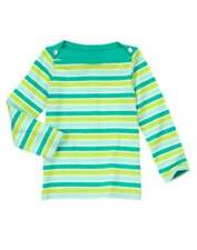 NWT Gymboree Color Happy Green Striped Gem Shirt Tee Top Sizes 4 & 5