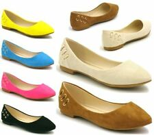 NEW WOMENS FLAT PUMPS LADIES SUEDE BALLET BALLERINA DOLLY CASUAL SHOES SIZE