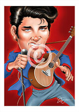 ELVIS PRESLEY artwork print caricature A3/A4 sizes signed art