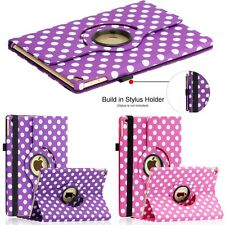360 Rotating Leather Case Smart Cover Stand For iPad Air 2 2nd Polka Dot Pattern