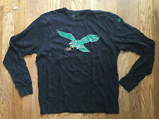 New Mens Philadelphia Eagles Legacy Logo Black Long Sleeve Scrum T-Shirt