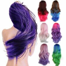 60 80 100cm Women Long Cosplay Hair Wigs Rainbow Curly Straight Full Wig Thick T