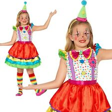Deluxe Clown Girl Costume Kids Circus Clown Fancy Dress Outfit Ages 4-12