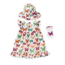 NWT Gymboree Girls Woodside Walk Butterfly Dress Hat & Socks Set Size 0-3 M & 3