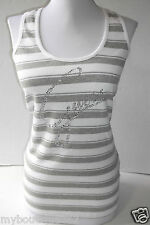 NEW WITH TAG GUESS WHITE MULTI TANK TOP WITH RHINESTONES LOGO LQQK