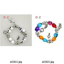 a216m22 Women's Skull multi-color Beads elastic stretch Dangle Bangle Bracelet