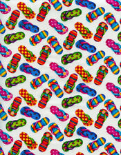 Timeless Treasures Beach Flipflops Quilt Fabric Fat Quarter
