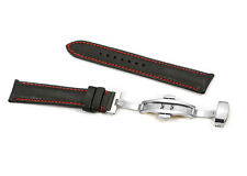 18mm-22mm Genuine Calfskin Leather Watch Band Deployment Clasp Strap For Tissot