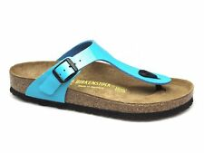 Birkenstock GIZEH Ladies Womens Summer Casual Beach Toe Post Sandals Patent Blue
