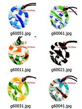 g600m43 Murano Lampwork Glass Peace Sign Bead Pendant Necklace Wax Cord Jewelry