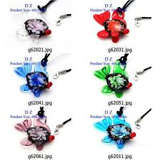 g620m05 Goldfish Flower Lampwork Glass Murano Bead Pendant Cord Necklace Fashion