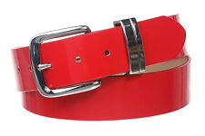 """1 1/2"""" (38 mm) Snap On Nickel Free Faux Synthetic Patent Leather Fashion Belt"""