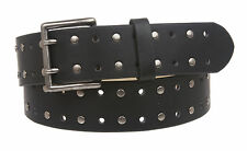 "1 1/2"" Snap on Rivet Perforated Double Prong Leather Belt"