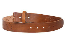 """Snap On 1 1/2"""" Soft Hand Genuine Leather Perforated Detail Belt Strap"""