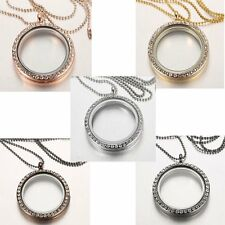 25MM Living Memory Crystal Glass Round Locket Pendant Necklace Floating Charms