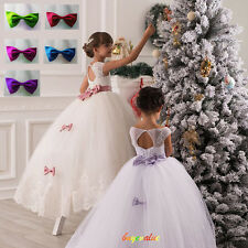 Flower Girl Dress Kids Birthday Wedding Pageant Prom Gown Princess white bows