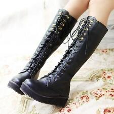 Autumn New Womens Punk Goth Flat Platform Wedge Lace Up Military Knee High Boots