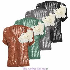 Ladies Womens Short Sleeve Knitted Cardigan Top Shrug Crochet Jumper Dress