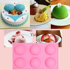 1pc 6 Half Ball Round Chocolate Cake Candy Soap Mold Flexible Silicone Mould TX
