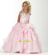Pink  Baby Princess Bridesmaid Flower Girl Dresses Wedding evening Party puffed