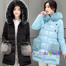 Winter Women thick Warm Jacket Down Cotton Coat Faux Fur Hooded Parka Outerwear