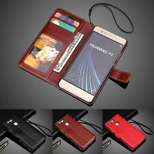 Luxury PU Leather Wallet Card Holder Flip Cover Stand Case For Huawei P8 P9 Lite