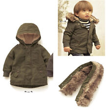 Kids Baby Toddler Boys Thicken zipper Hooded Outerwear Jacket warm clothes