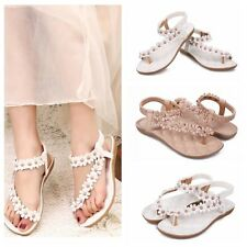 Womens Summer Bohemia Flower Slippers Flip Flops Flat Sandals Beach Thong Shoes