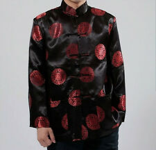 Black/ Red Chinese Men's Silk Clothing Jacket/coat SZ: M - XXXL Birthday Coat