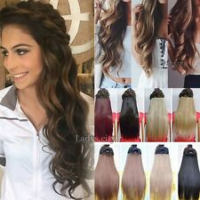 100% Natural Women 3/4 Full Head Clip In Hair Extension Real Thick as remy hair