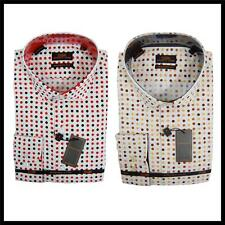 Mens New Steven Land Polka Dot Collar Reg Cuffs Dress Shirt Red,Cream/Brn DM1119