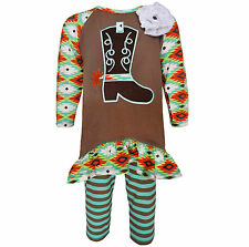 AnnLoren Girls Boutique Cowgirl Tunic and Legging Clothing Set 12/18 mo - 9/10