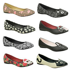 TUK Womens Ladies Unique Rockabilly Pinup Retro Character Ballet Flat Shoes