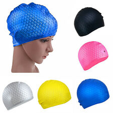 Pop Adults Waterproof Silicone Stretch Swim Long Hair Cap Hat With Ear Cup WF
