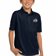 Colorado Avalanche Antigua Youth Pique Desert Dry Xtra-LITE Polo - Navy Blue