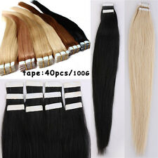 40pcs Tape in 100% Remy Human Hair Extensions Black Brown Blonde Chosen Raw US1