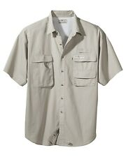 NEW Mens Hook Tackle Gulfstream Short Sleeve Fishing Shirt Sand Aqua L XL 2XL